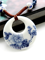 Fashion Chinoiserie Jingdezhen Ceramic Blue-And-White Pattern Pendant Necklace