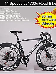 """90mm meer breedte wielen 14 versnellingen 700c wegfiets Visp ™ 52 """"fietsen aluminium racefiets"""
