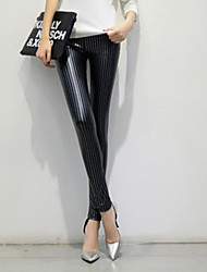 2015 Lady Leggings PU  leather Pants Sexy Leggings for Women High Waist Pants Striped leggings Plus Velvet Elastic pants