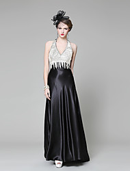 Formal Evening Dress - Pool / Black Ball Gown V-neck Chapel Train Stretch Satin / Knit
