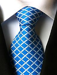 Men Wedding Cocktail Necktie At Work Blue White Cross Tie