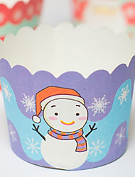 Heat-resistant Santa Claus and Snowman for Christmas Baking Cake Paper Cups Moulds(12 Pieces)