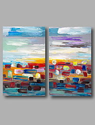 Ready to Hang Stretched Hand-Painted Oil Painting Canvas Modern Orange Blue Red Home Deco Two Panels