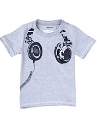 Boy's Fashionable Round Neck Earphone Print Long Sleeve T-Shirt