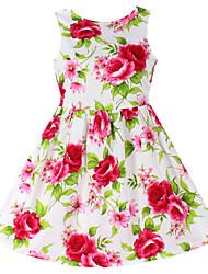 Menina de Vestido Floral Algodão Verão / Primavera Vermelho