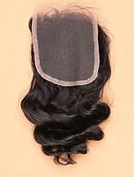8 12 14 16 18 20 22 24 inch Natural Black Hand Tied Loose Wave Human Hair Closure Medium Brown Swiss Lace 45 gram Cap Size
