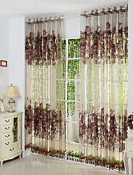 Two Panels Burgundy Floral  Botanical Polyester Sheer Curtains