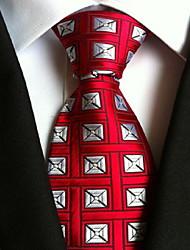 Men Wedding Cocktail Necktie At Work Red White Colors Tie