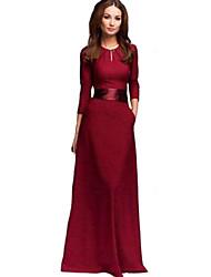 De las mujeres Recto Vestido Sexy Un Color Maxi Escote Redondo Algodón