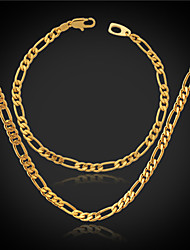InStyle High Quality 18K Chunky Gold Filled Figaro Chain Necklace Bracelet for Men or Women