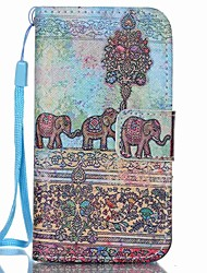 Elephant Pattern PU Leather Material Flip Card Phone Case for iPhone 4/4S