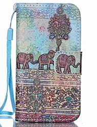 motif d'éléphant en cuir PU carte flip cas de téléphone pour iPhone 4 / 4S