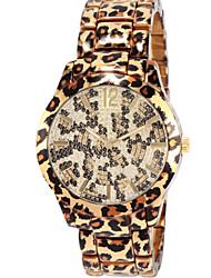 Women's Leopard Print Pattern Diamond Case Gold Alloy Band Quartz Wrist Watch Gift Idea Cool Watches Unique Watches
