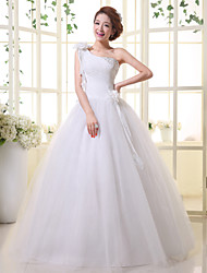 Ball Gown Wedding Dress - White Floor-length One Shoulder Lace / Organza