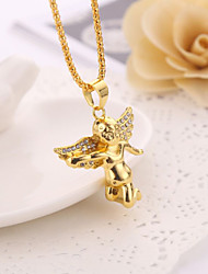 Noble Small Angle Set Drill High Polished Shape Pendant Necklace