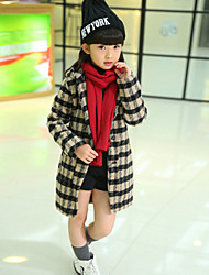 Girl's Orange / Pink / Red / White / Yellow Jacket & Coat , Check Rayon Winter / Fall