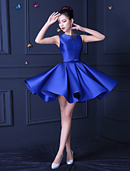 Short/Mini Satin Bridesmaid Dress - Royal Blue A-line Jewel