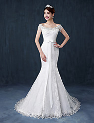 Trumpet / Mermaid Wedding Dress Court Train Off-the-shoulder Lace / Satin / Tulle with Ruffle