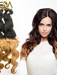 3pcs / lot cabelo ombre mongol tecendo dois tons ombre extensões de cabelo humano 1b / 27 onda do corpo 8 '' - 30 '' cabelo humano tece