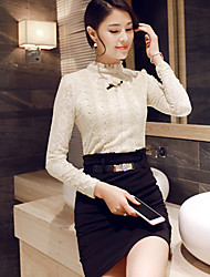Women's Solid / Lace Black Blouse , Stand Long Sleeve