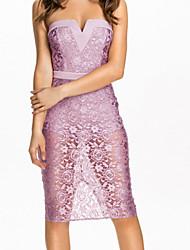 Women's Pinkish Purple Rose Lace Strapless Midi Dress