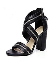 Women's Summer Heels / Open Toe Leatherette Casual / Dress Chunky Heel Zipper Black / Beige