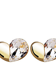Korean Fashion   Love Zircon Gold Plating Earrings