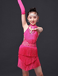 Latin Dance Dresses Children's Performance / Training Milk Fiber Tassel(s) 1 Piece Blue / Fuchsia / Red