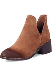 Damen-Stiefel-Büro Kleid Lässig-Lackleder Kunstleder-Blockabsatz Plateau-Plateau Komfort Reitstiefel Modische Stiefel-Schwarz Braun Grau