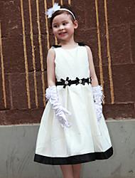 A-line Tea-length Flower Girl Dress - Satin Sleeveless