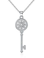 """Jazlyn® 925 Sterling Silver Full Of Cubic Zirconia """"Flower Sun Love"""" Key Pendant Women's Men's Necklace Love Token"""