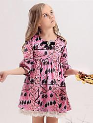 KAMIWA ® Girl's Green / Pink Dress ,Birds Animal Print / Bow / Cartoon Cotton Lining Polyester Fabric Spring / Fall