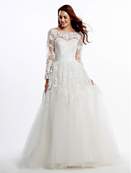 Lanting A-line Wedding Dress - Ivory Court Train Scoop Lace / Tulle