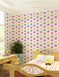Colorful Heart Shape Bubbles Wallpaper Wall Covering PVC Wall Paper 5*0.45 M For Hall/Bedroom/Kids Room/Dining Room
