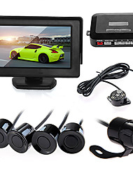 "Car Vehicle Reverse Parking Kit 4.3"" Monitor + Camera + Black Sensors New"