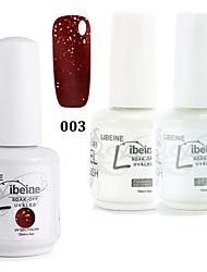 1set libeine (color 003 + capa base + capa superior) 3pcs empapa de 15 ml ultravioleta del clavo gel de color de esmalte de pulimento del