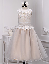 A-line Ankle-length Flower Girl Dress - Lace Organza Jewel with Lace