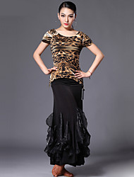 Latin Dance Outfits Women's Performance Spandex / Polyester / Silk Polka Dots / Leopard 2 Pieces 4 Colors