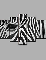 Stretched Framed Hand-Painted Oil Painting on Canvas Wall Art Modern Black White Zebra Abstract Home Deco Five Panels