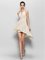Chiffon Bridesmaid Dress Sheath / Column Halter with Draping