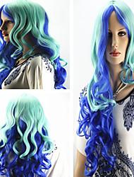 vrouwen modieuze lang krullend golvend multi color cosplay pruik lolita partij pruiken
