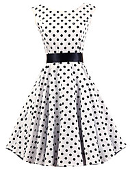 Women's White Black Polka Dot Dress , Vintage Sleeveless 50s Rockabilly Swing Short Cocktail Dress