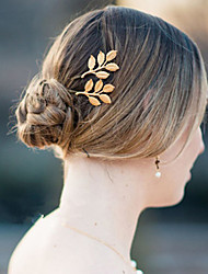 Women Metal Delicate Golden Leaf Hairpin Side Folder Hair Accessories