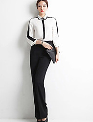 Women's Color Block White Blouse , Shirt Collar Long Sleeve chiffon