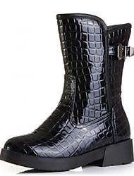 Calçados Femininos - Botas - Botas Montaria - Rasteiro - Preto - Couro Envernizado - Casual