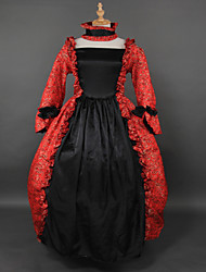 Steampunk®Red and Black Brocade Printing Lolita Long Prom Dress Marie Antoinette Inspired Dress Wholesalelolita Evening Dress
