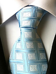 Men Wedding Cocktail Necktie At Work Light Blue White Tie