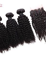 brésiliens vierges friser les cheveux crépus de smilco avec fermeture 3 faisceaux avec 4 * 4 fermeture à lacets troisième partie
