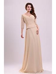 Sheath/Column Mother of the Bride Dress - Champagne Floor-length Chiffon