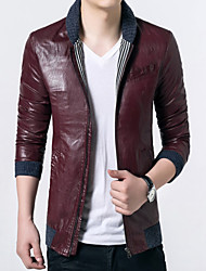 Men's Korean Fashion Special Stand Collar Outdoor Leather Jacket
